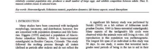 Sexual dimorphism, population dynamics and some aspects of life history of Echiniscus mauccii (Tardigrada; Heterotardigrada)