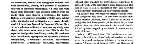 Tardigrades of North America: Influence of Substrate On Habitat Selection